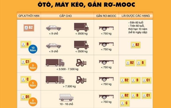 Các loại bằng lái xe tại Việt Nam hiện nay